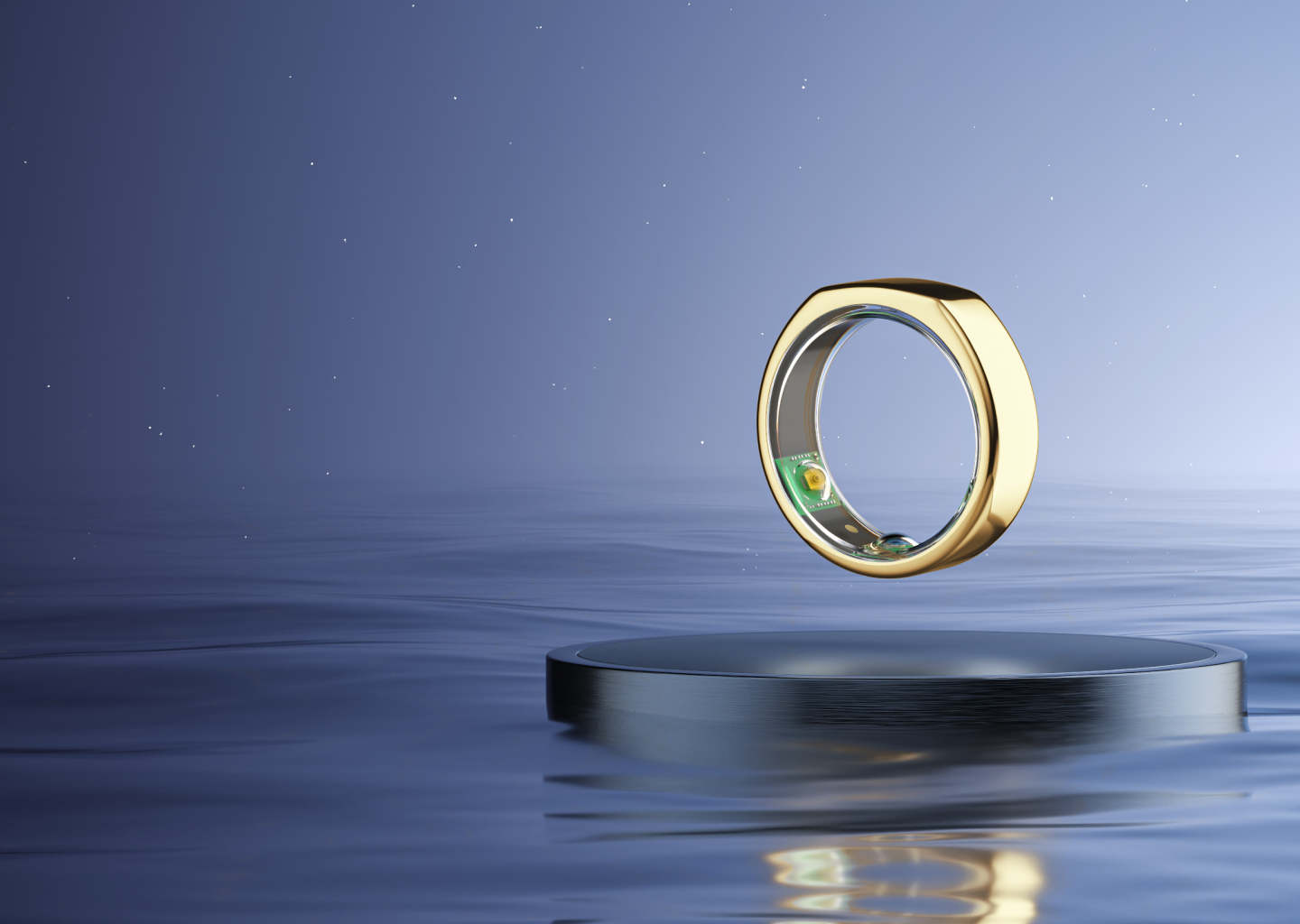Gold Oura Ring floating among a starry sky, with a deep blue ocean below.
